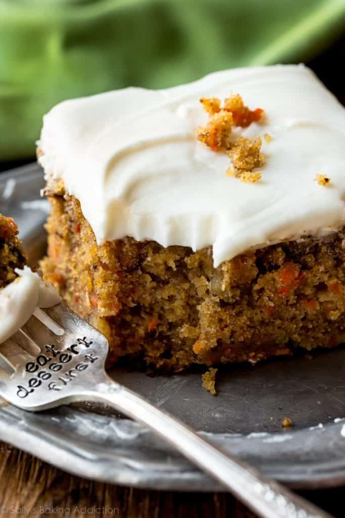 carrot cake on a plate with fork