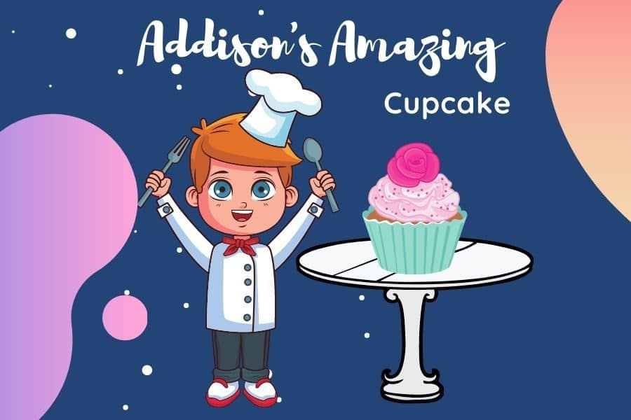 Animated kid with cupcake on a table