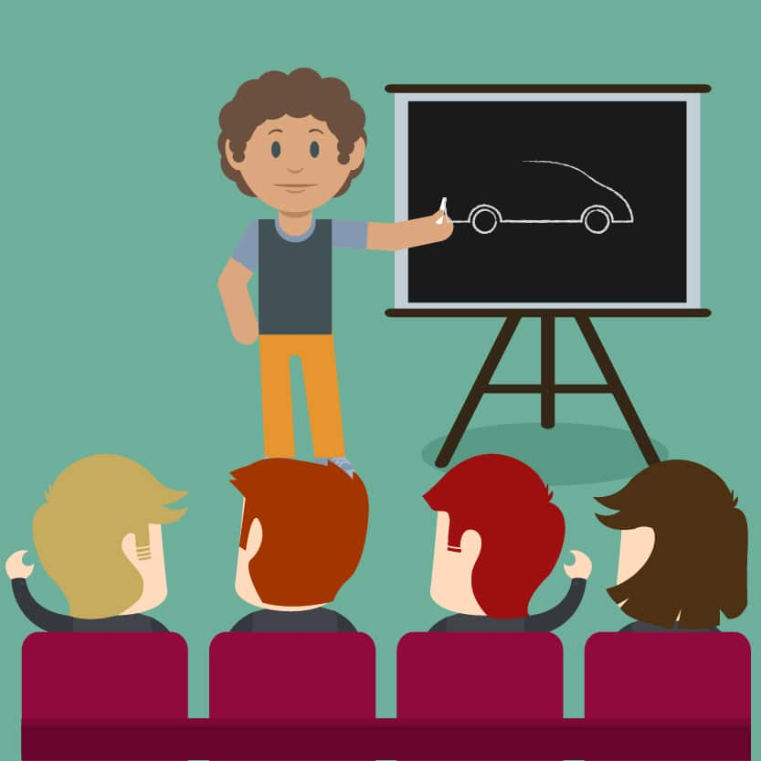 Illustration of a teacher teaching students